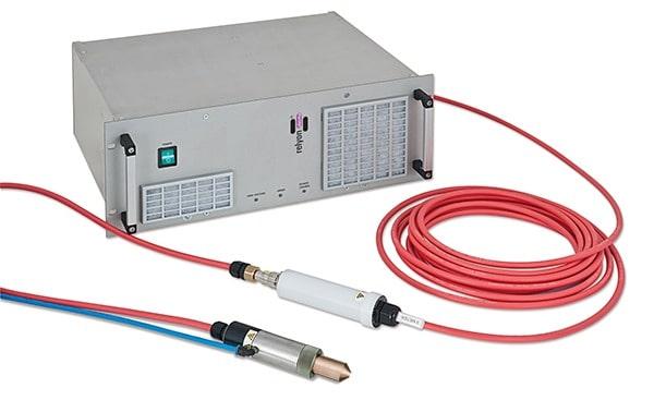 Hochspannungsversorgung PS2000 in robustem 19Zoll Industriestandard, mit Hochspannungskabel (10m) und Plasmabrush® Plasmaerzeuger