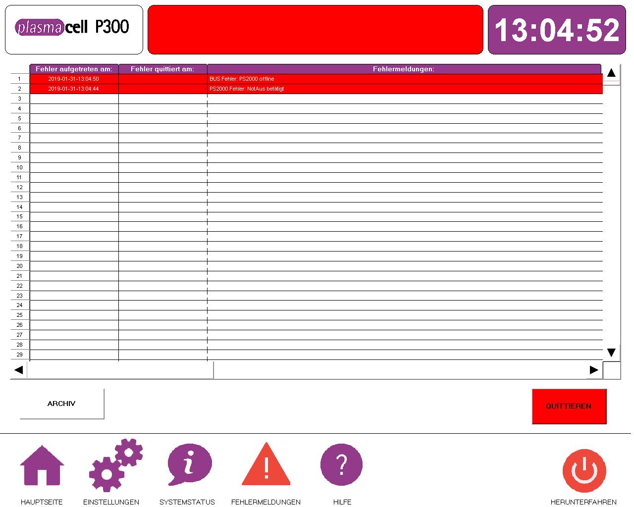Plasmacell Fehlermeldung Software