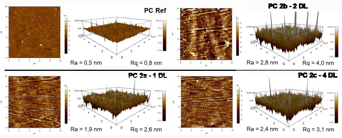 Rasterkraftmikroskop Messung nach der Behandlung von PTPC mit dem piezobrush PZ3