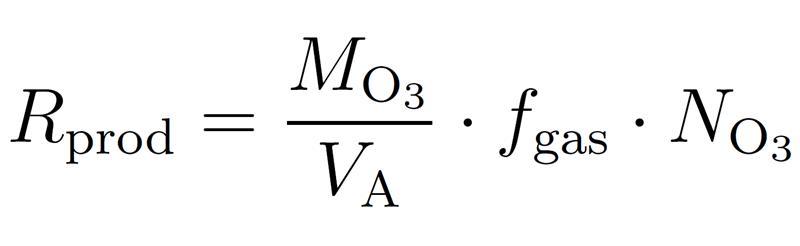 where VA is the molar volume and MO3 - the molar mass of ozone (48 g/mol).
