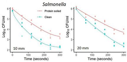 Inaktivierung von lebensmittelbedingten Krankheitserregern Salmonellen auf Edelstahl